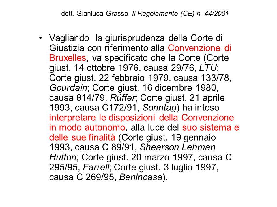 dott. Gianluca Grasso Il Regolamento (CE) n. 44/2001 Vagliando la giurisprudenza della Corte di Giustizia con riferimento alla Convenzione di Bruxelle