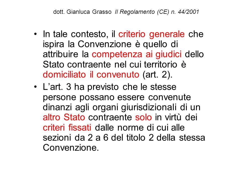 dott. Gianluca Grasso Il Regolamento (CE) n. 44/2001 In tale contesto, il criterio generale che ispira la Convenzione è quello di attribuire la compet