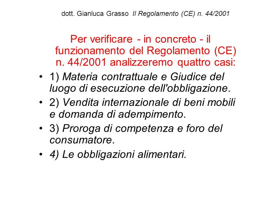 dott. Gianluca Grasso Il Regolamento (CE) n. 44/2001 Per verificare - in concreto - il funzionamento del Regolamento (CE) n. 44/2001 analizzeremo quat