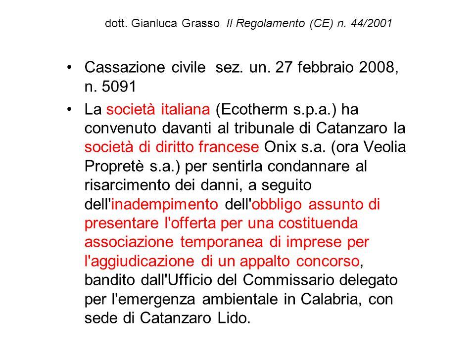 dott. Gianluca Grasso Il Regolamento (CE) n. 44/2001 Cassazione civile sez. un. 27 febbraio 2008, n. 5091 La società italiana (Ecotherm s.p.a.) ha con