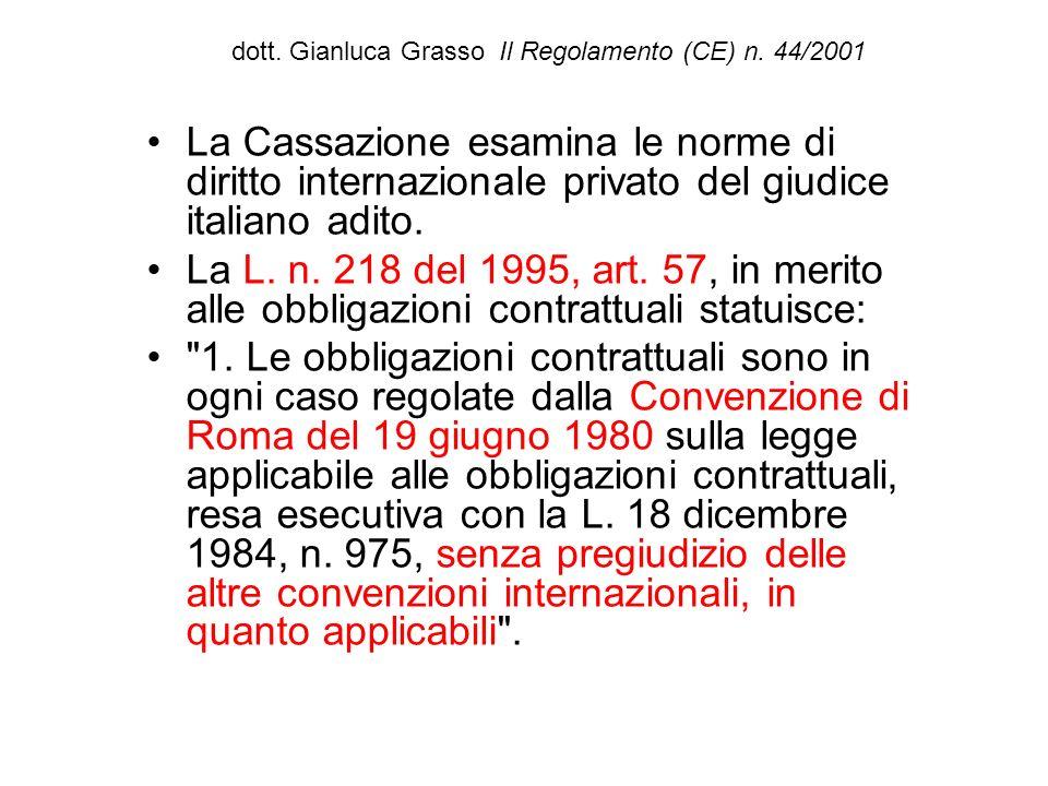 dott. Gianluca Grasso Il Regolamento (CE) n. 44/2001 La Cassazione esamina le norme di diritto internazionale privato del giudice italiano adito. La L