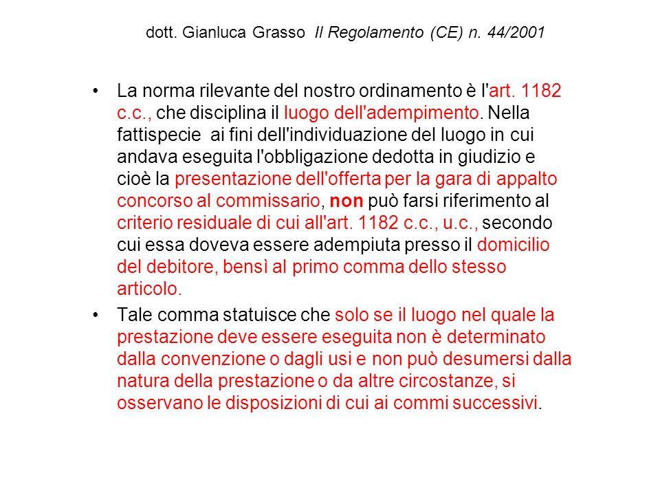 dott. Gianluca Grasso Il Regolamento (CE) n. 44/2001 La norma rilevante del nostro ordinamento è l'art. 1182 c.c., che disciplina il luogo dell'adempi