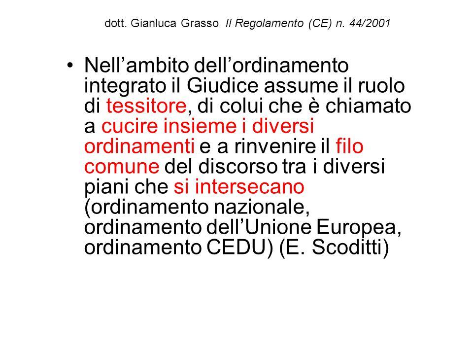dott. Gianluca Grasso Il Regolamento (CE) n. 44/2001 Nellambito dellordinamento integrato il Giudice assume il ruolo di tessitore, di colui che è chia