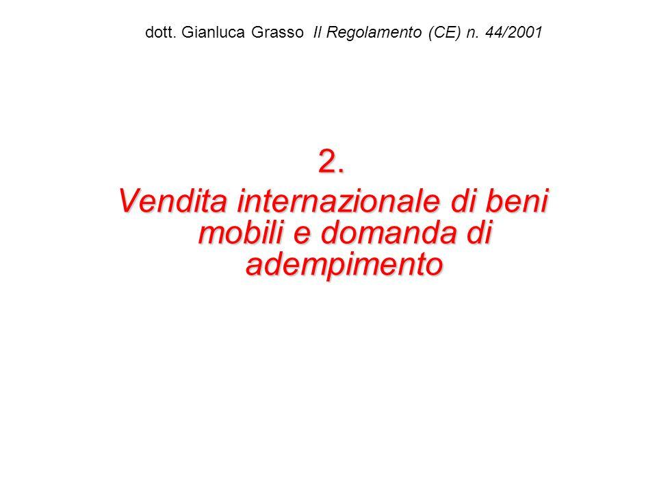 dott. Gianluca Grasso Il Regolamento (CE) n. 44/20012. Vendita internazionale di beni mobili e domanda di adempimento
