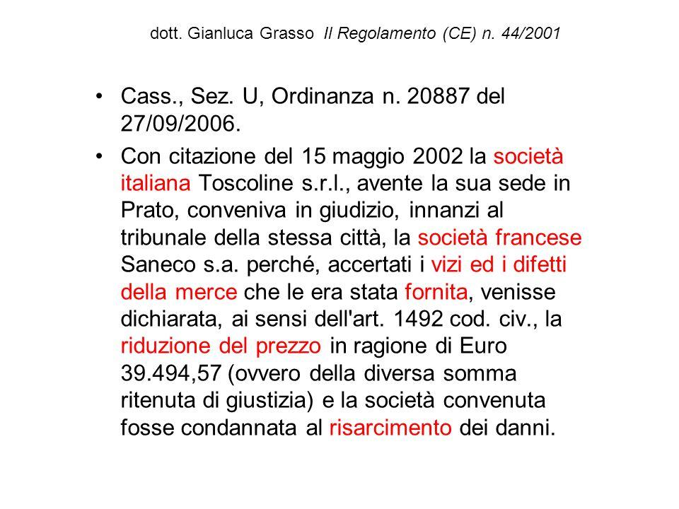 dott. Gianluca Grasso Il Regolamento (CE) n. 44/2001 Cass., Sez. U, Ordinanza n. 20887 del 27/09/2006. Con citazione del 15 maggio 2002 la società ita