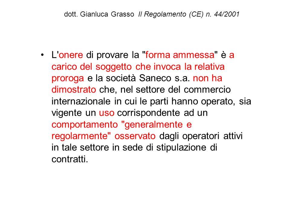 dott. Gianluca Grasso Il Regolamento (CE) n. 44/2001 L'onere di provare la