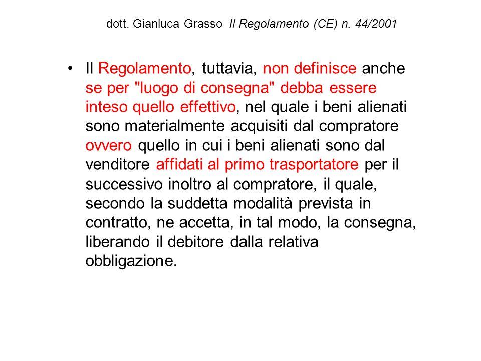 dott. Gianluca Grasso Il Regolamento (CE) n. 44/2001 Il Regolamento, tuttavia, non definisce anche se per