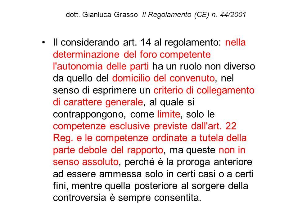 dott. Gianluca Grasso Il Regolamento (CE) n. 44/2001 Il considerando art. 14 al regolamento: nella determinazione del foro competente l'autonomia dell