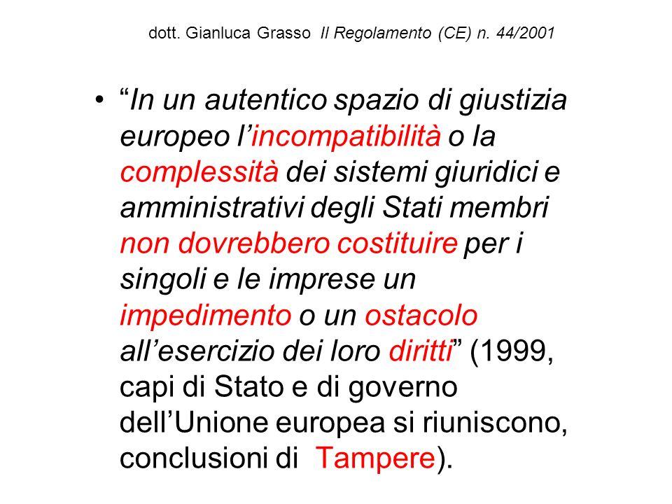 dott. Gianluca Grasso Il Regolamento (CE) n. 44/2001 In un autentico spazio di giustizia europeo lincompatibilità o la complessità dei sistemi giuridi