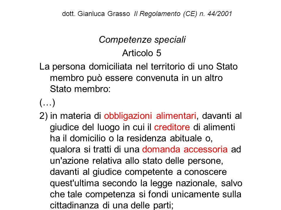 dott. Gianluca Grasso Il Regolamento (CE) n. 44/2001 Competenze speciali Articolo 5 La persona domiciliata nel territorio di uno Stato membro può esse