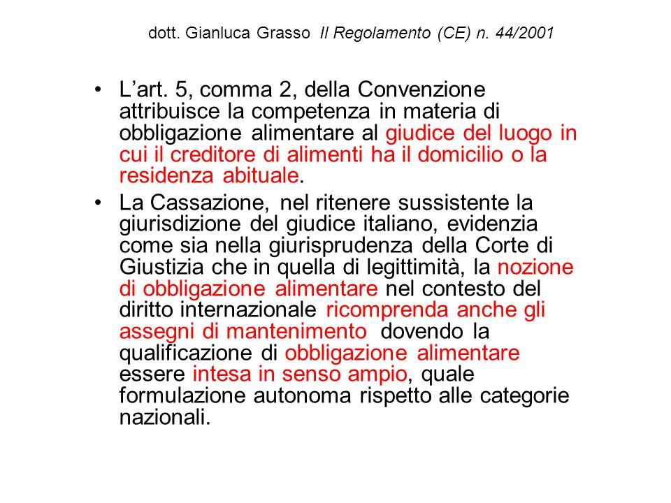 dott. Gianluca Grasso Il Regolamento (CE) n. 44/2001 Lart. 5, comma 2, della Convenzione attribuisce la competenza in materia di obbligazione alimenta