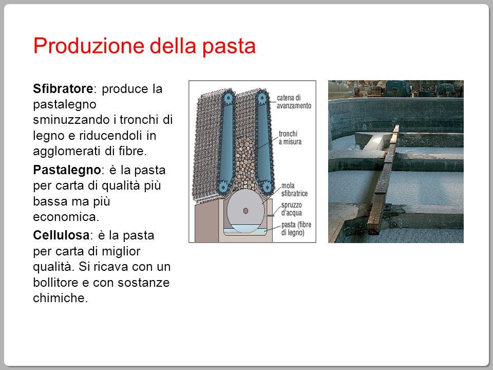 Produzione della pasta Sfibratore: produce la pastalegno sminuzzando i tronchi di legno e riducendoli in agglomerati di fibre. Pastalegno: è la pasta