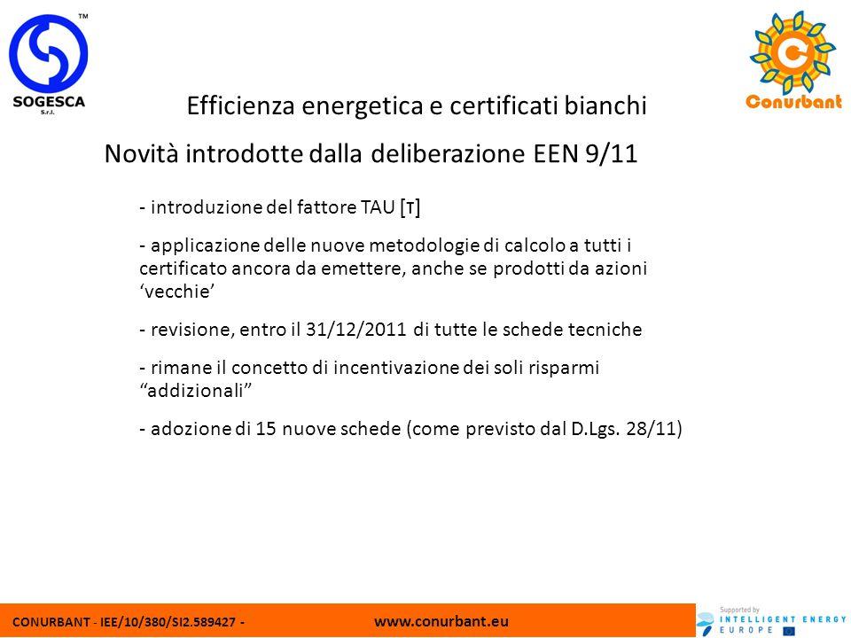 CONURBANT - IEE/10/380/SI2.589427 - www.conurbant.eu Efficienza energetica e certificati bianchi Novità introdotte dalla deliberazione EEN 9/11 - intr