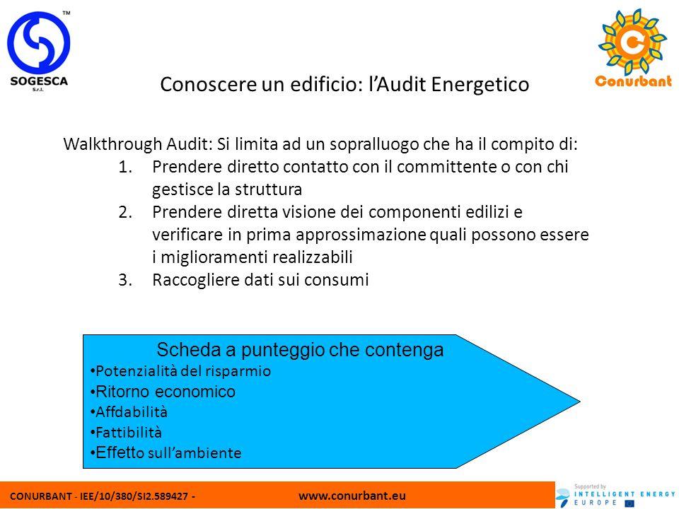 CONURBANT - IEE/10/380/SI2.589427 - www.conurbant.eu Conoscere un edificio: lAudit Energetico Walkthrough Audit: Si limita ad un sopralluogo che ha il