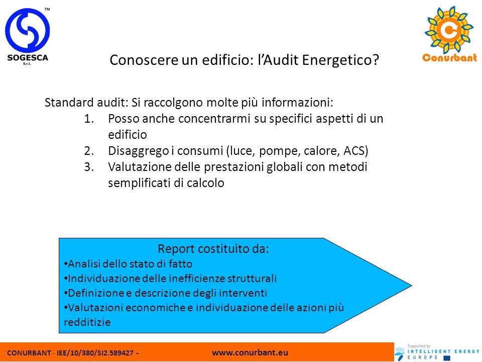 CONURBANT - IEE/10/380/SI2.589427 - www.conurbant.eu Conoscere un edificio: lAudit Energetico? Standard audit: Si raccolgono molte più informazioni: 1