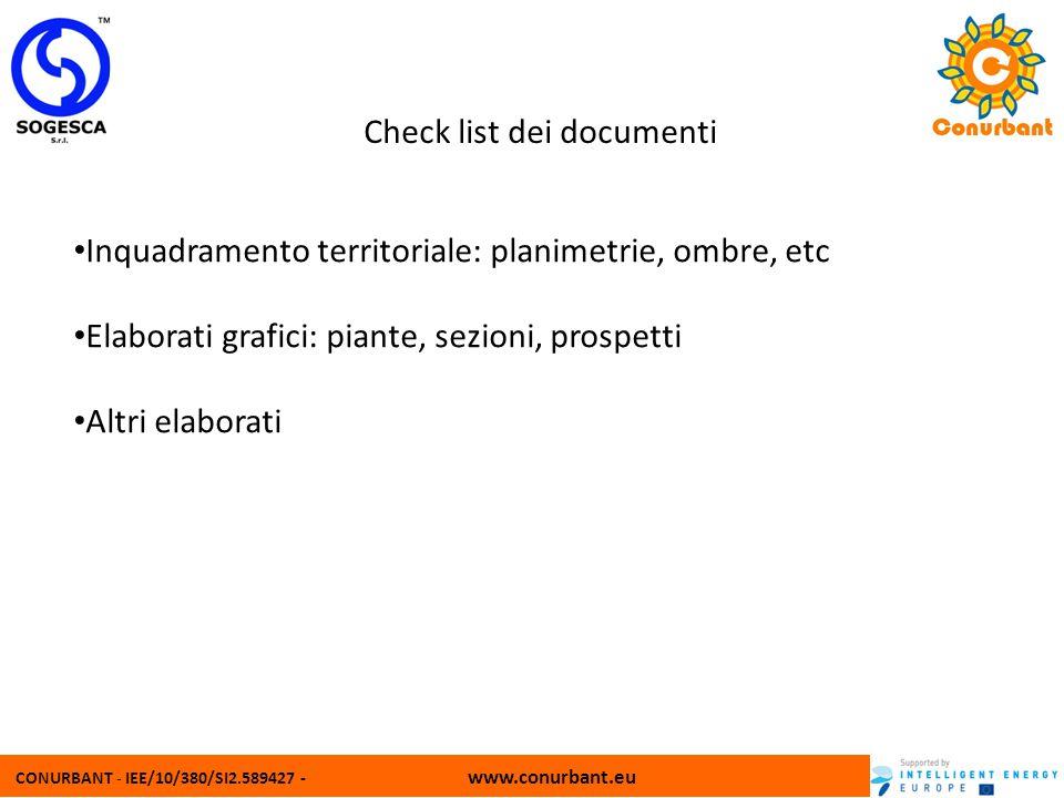 CONURBANT - IEE/10/380/SI2.589427 - www.conurbant.eu Check list dei documenti Inquadramento territoriale: planimetrie, ombre, etc Elaborati grafici: p