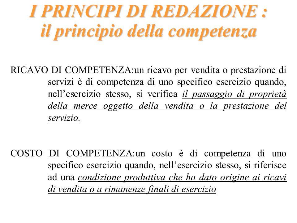 I PRINCIPI DI REDAZIONE : il principio della competenza RICAVO DI COMPETENZA:un ricavo per vendita o prestazione di servizi è di competenza di uno spe