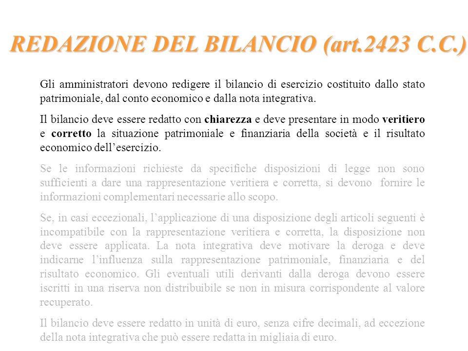 REDAZIONE DEL BILANCIO (art.2423 C.C.) Gli amministratori devono redigere il bilancio di esercizio costituito dallo stato patrimoniale, dal conto econ