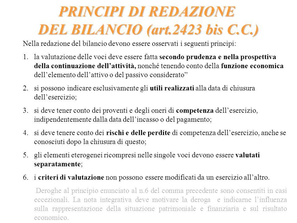 PRINCIPI DI REDAZIONE DEL BILANCIO (art.2423 bis C.C.) Nella redazione del bilancio devono essere osservati i seguenti principi: 1.la valutazione dell