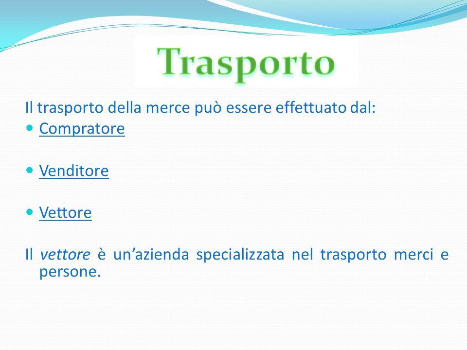 Il trasporto della merce può essere effettuato dal: Compratore Venditore Vettore Il vettore è unazienda specializzata nel trasporto merci e persone.