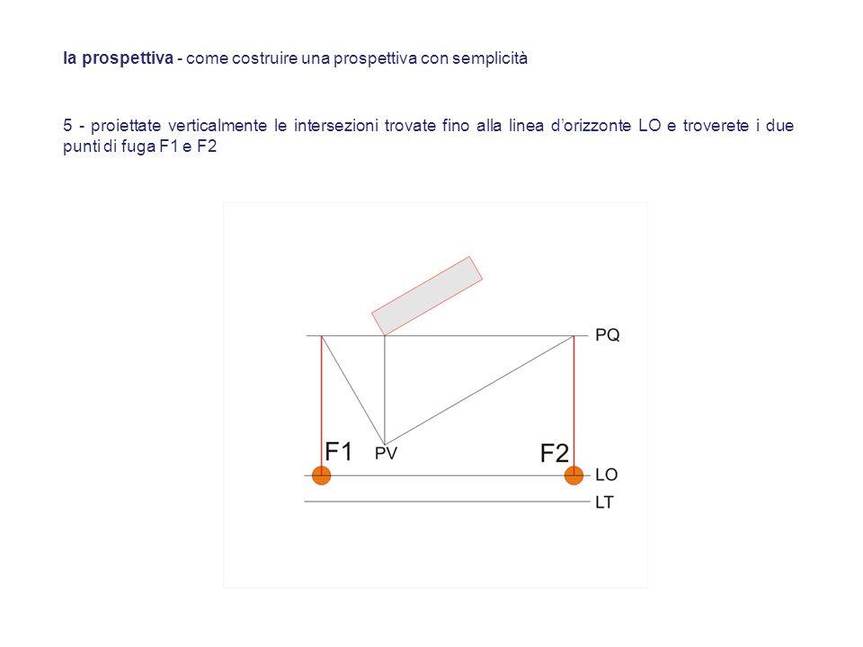 5 - proiettate verticalmente le intersezioni trovate fino alla linea dorizzonte LO e troverete i due punti di fuga F1 e F2 la prospettiva - come costr