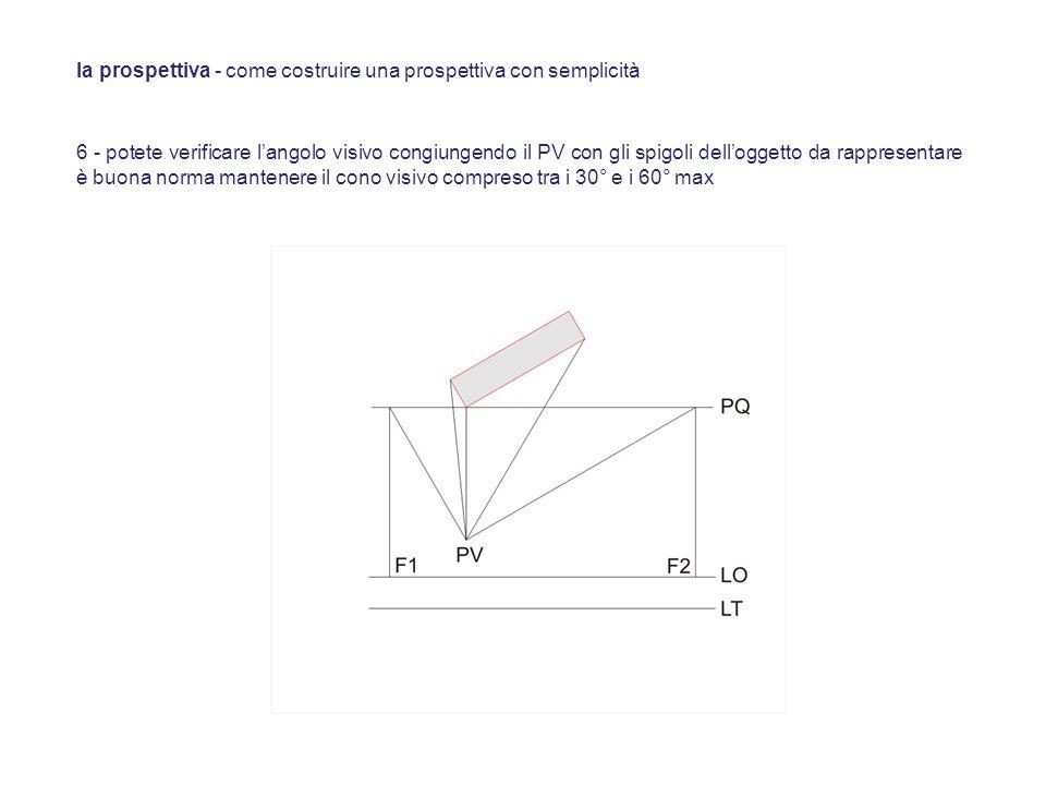 6 - potete verificare langolo visivo congiungendo il PV con gli spigoli delloggetto da rappresentare è buona norma mantenere il cono visivo compreso t