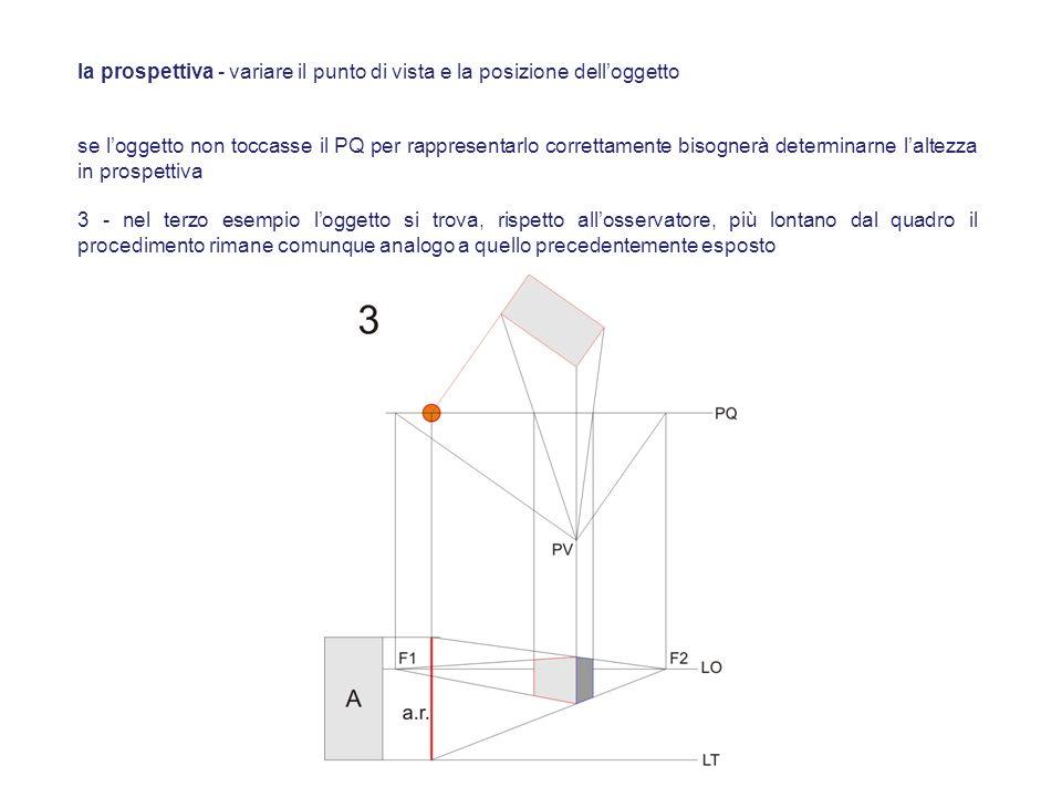 se loggetto non toccasse il PQ per rappresentarlo correttamente bisognerà determinarne laltezza in prospettiva 3 - nel terzo esempio loggetto si trova