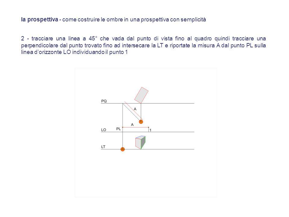 2 - tracciare una linea a 45° che vada dal punto di vista fino al quadro quindi tracciare una perpendicolare dal punto trovato fino ad intersecare la