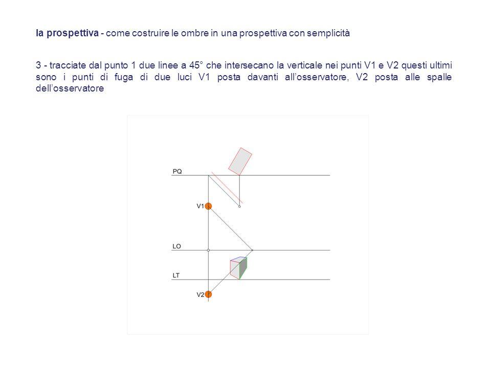 3 - tracciate dal punto 1 due linee a 45° che intersecano la verticale nei punti V1 e V2 questi ultimi sono i punti di fuga di due luci V1 posta davan