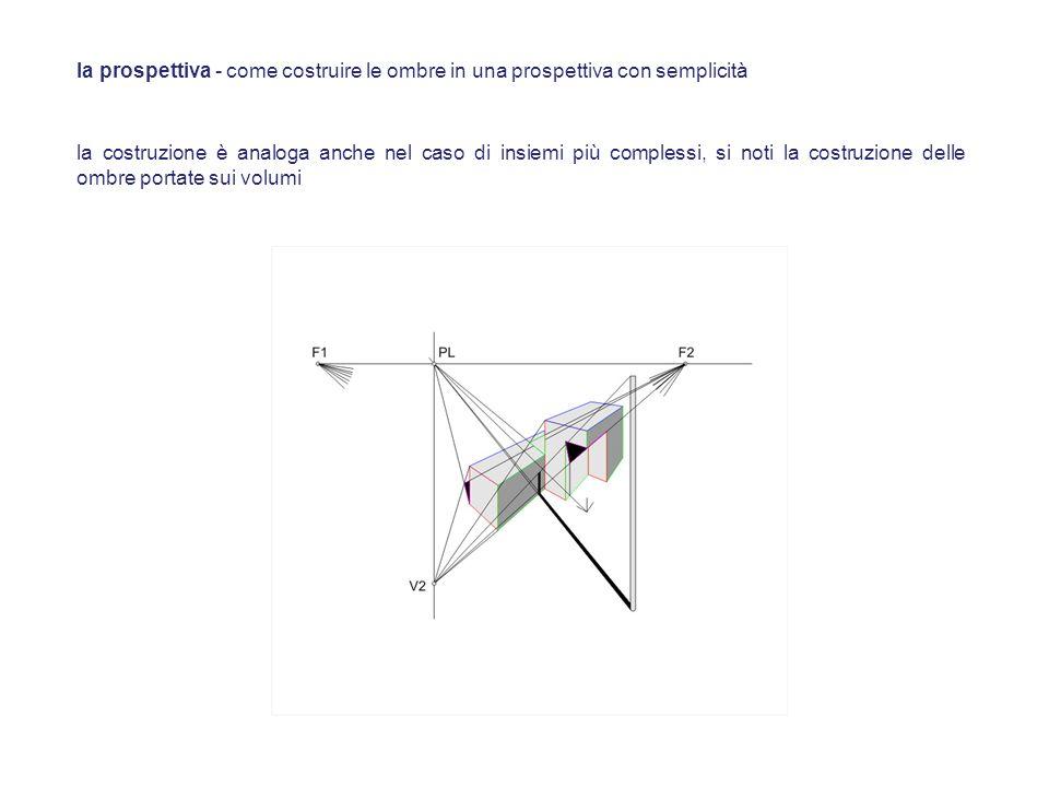 la costruzione è analoga anche nel caso di insiemi più complessi, si noti la costruzione delle ombre portate sui volumi la prospettiva - come costruir