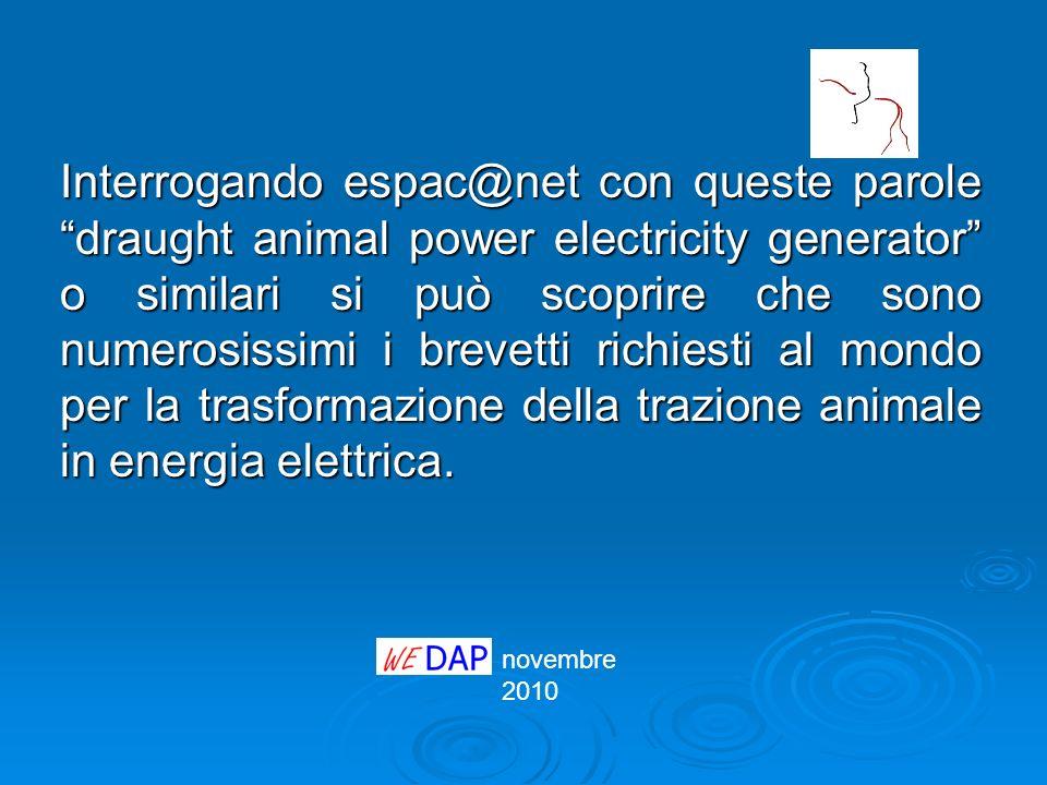 novembre 2010 Interrogando espac@net con queste parole draught animal power electricity generator o similari si può scoprire che sono numerosissimi i