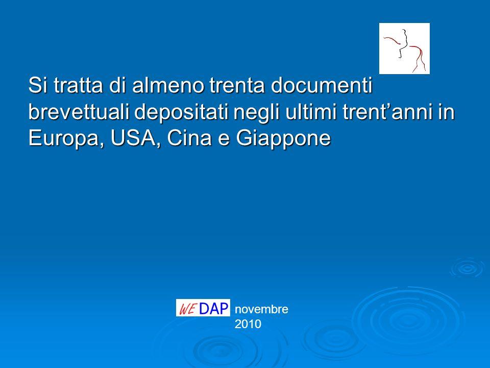 novembre 2010 Si tratta di almeno trenta documenti brevettuali depositati negli ultimi trentanni in Europa, USA, Cina e Giappone