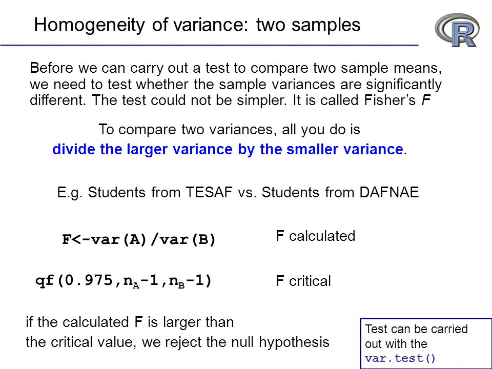Homogeneity of variance: two samples Before we can carry out a test to compare two sample means, we need to test whether the sample variances are sign