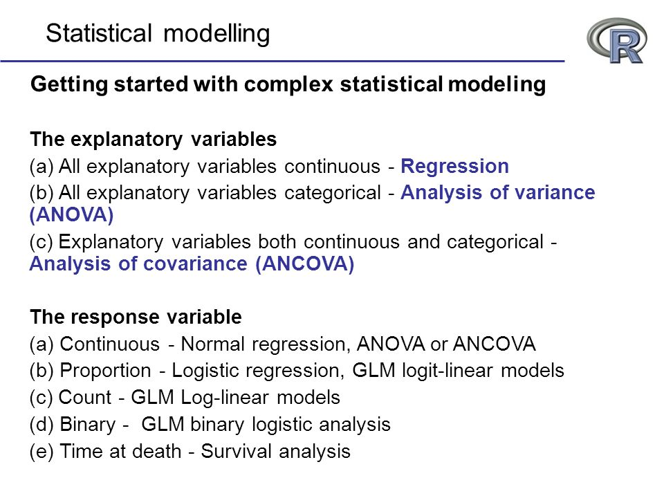 Statistical modelling Getting started with complex statistical modeling The explanatory variables (a) All explanatory variables continuous - Regressio