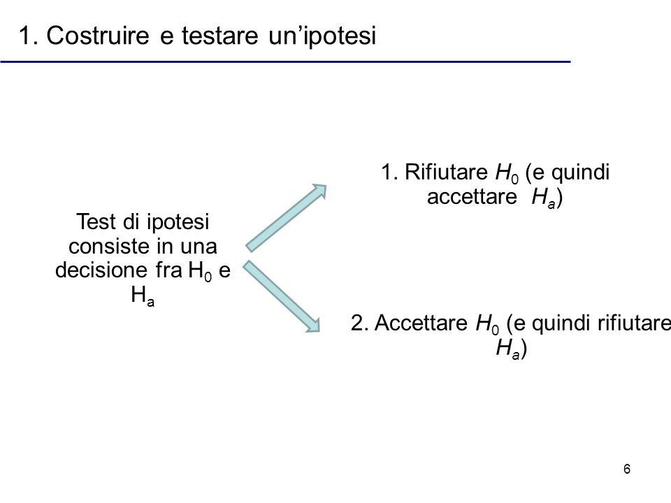 6 1. Costruire e testare unipotesi Test di ipotesi consiste in una decisione fra H 0 e H a 1. Rifiutare H 0 (e quindi accettare H a ) 2. Accettare H 0