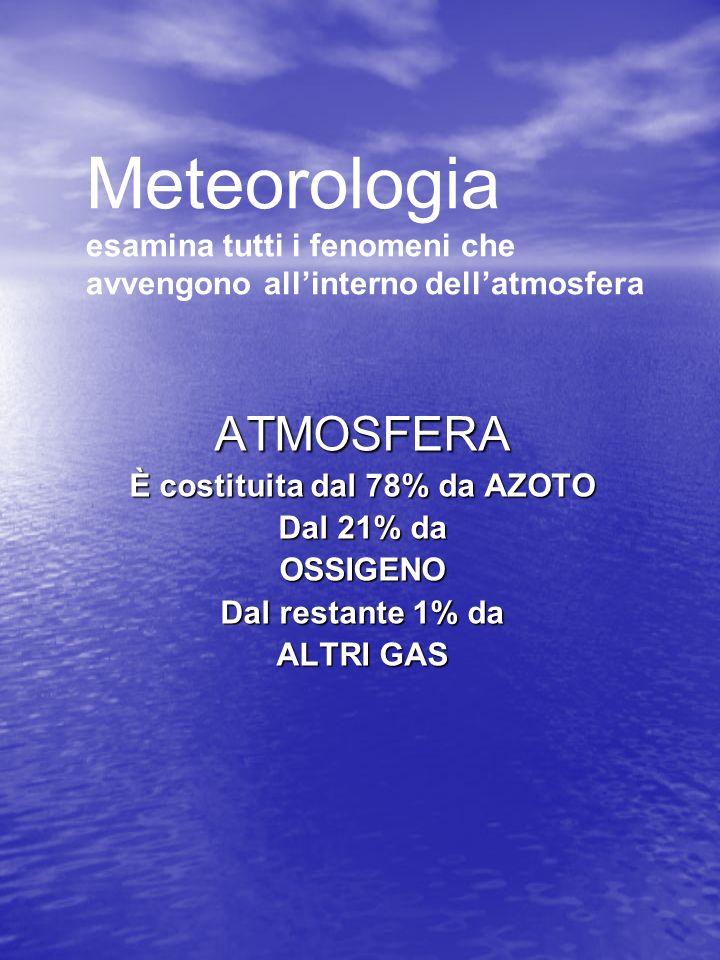 Meteorologia esamina tutti i fenomeni che avvengono allinterno dellatmosfera ATMOSFERA È costituita dal 78% da AZOTO Dal 21% da OSSIGENO Dal restante