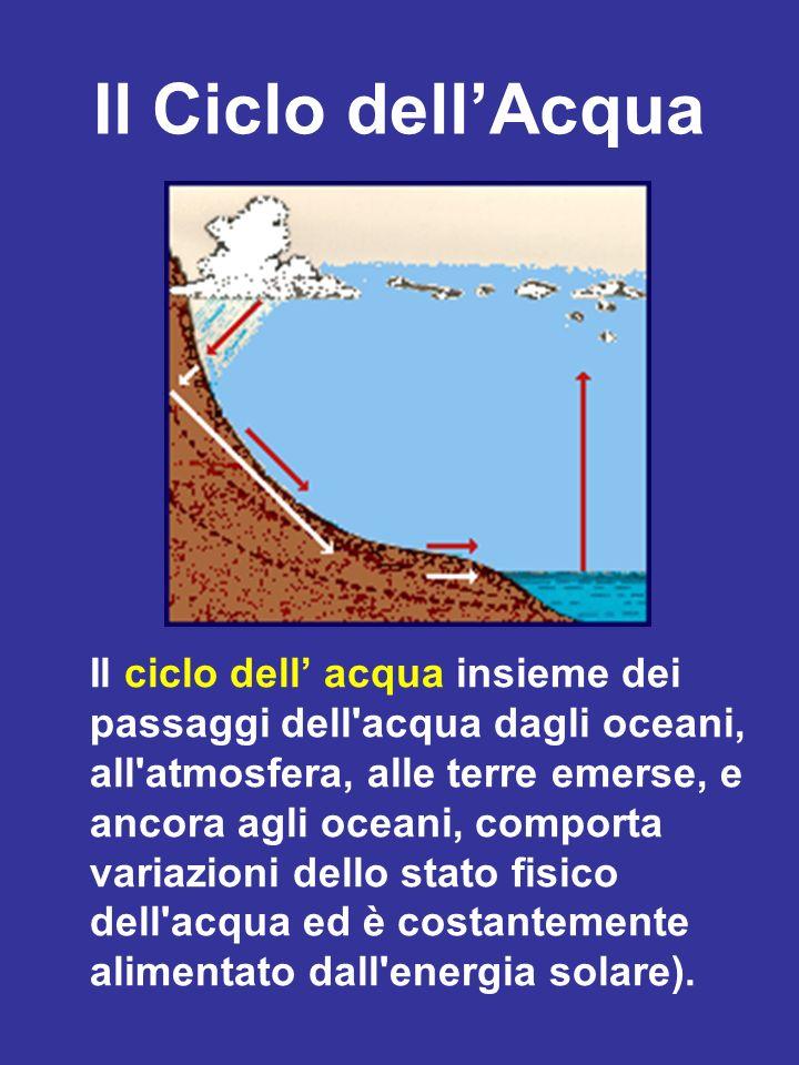 Il Ciclo dellAcqua Il ciclo dell acqua insieme dei passaggi dell'acqua dagli oceani, all'atmosfera, alle terre emerse, e ancora agli oceani, comporta
