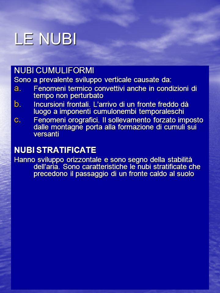 LE NUBI NUBI CUMULIFORMI Sono a prevalente sviluppo verticale causate da: a. Fenomeni termico convettivi anche in condizioni di tempo non perturbato b