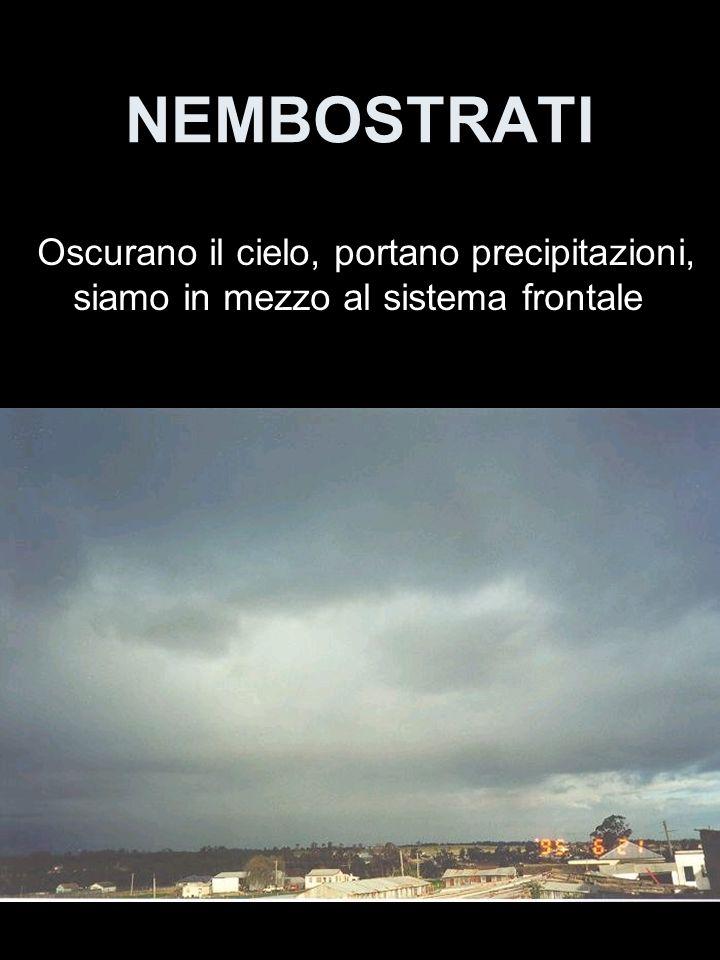 NEMBOSTRATI Oscurano il cielo, portano precipitazioni, siamo in mezzo al sistema frontale