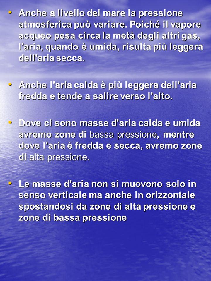 Anche a livello del mare la pressione atmosferica può variare. Poiché il vapore acqueo pesa circa la metà degli altri gas, l'aria, quando è umida, ris