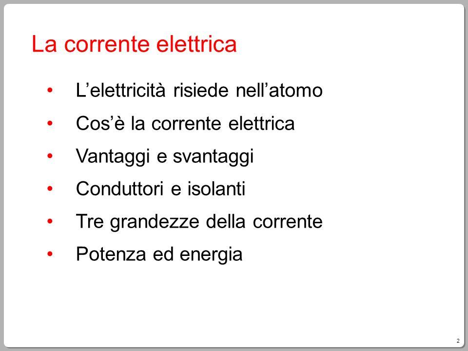 2 La corrente elettrica Lelettricità risiede nellatomo Cosè la corrente elettrica Vantaggi e svantaggi Conduttori e isolanti Tre grandezze della corre