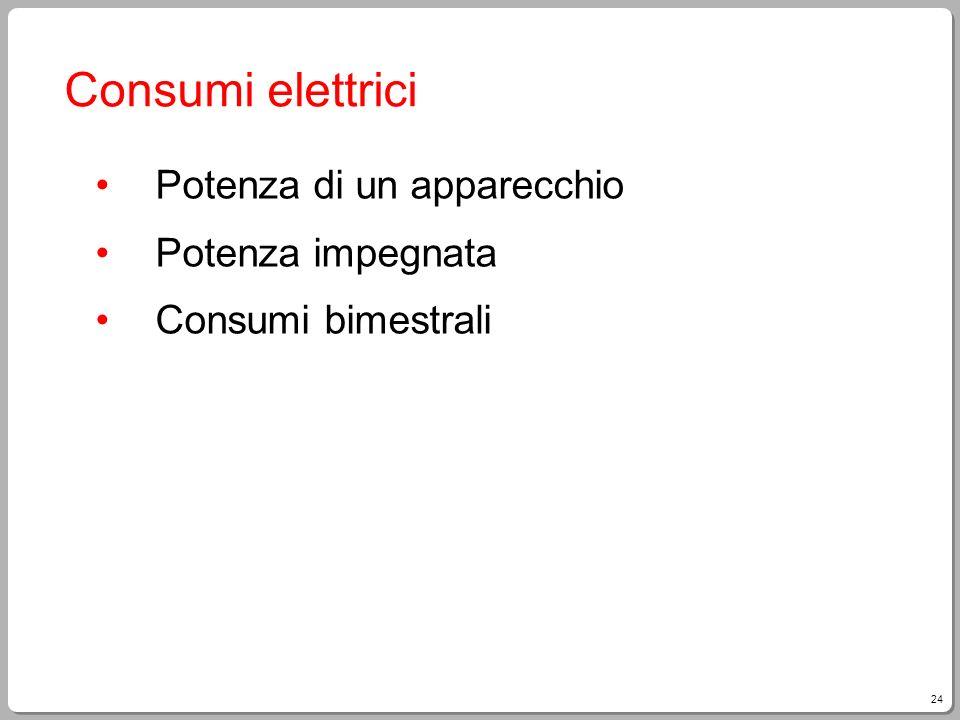 24 Consumi elettrici Potenza di un apparecchio Potenza impegnata Consumi bimestrali