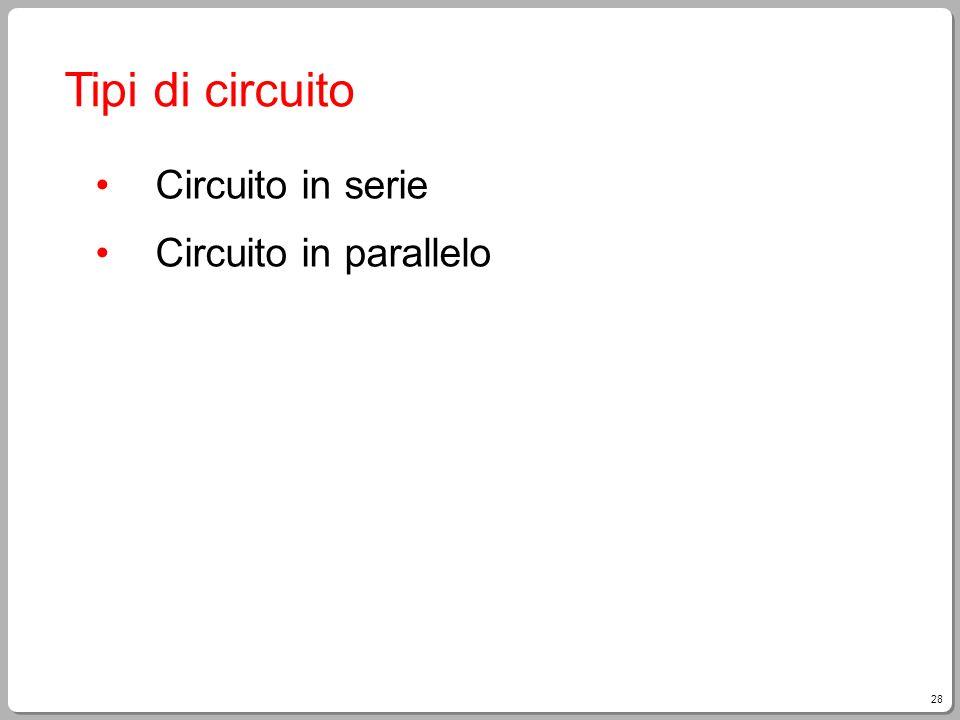 28 Tipi di circuito Circuito in serie Circuito in parallelo