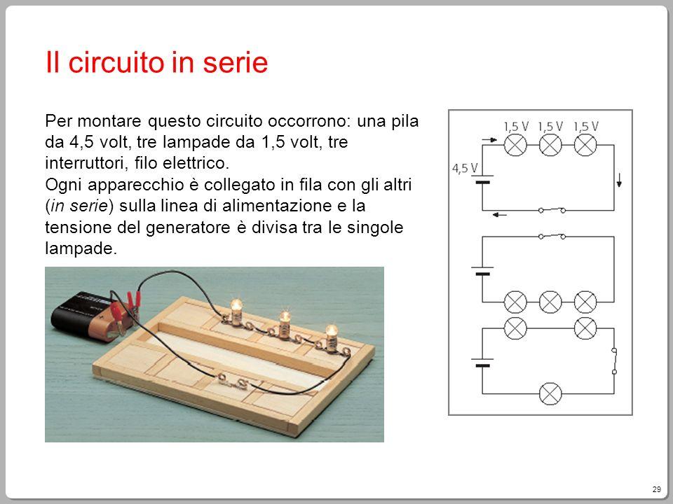 29 Il circuito in serie Per montare questo circuito occorrono: una pila da 4,5 volt, tre lampade da 1,5 volt, tre interruttori, filo elettrico. Ogni a