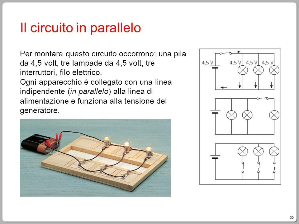 30 Il circuito in parallelo Per montare questo circuito occorrono: una pila da 4,5 volt, tre lampade da 4,5 volt, tre interruttori, filo elettrico. Og