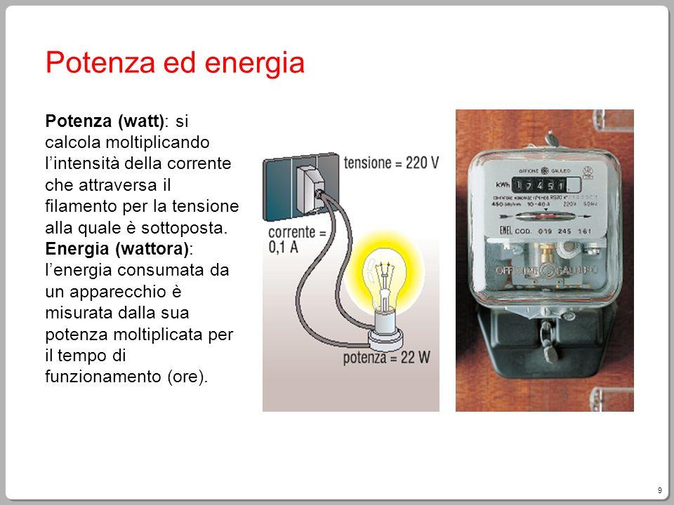 9 Potenza ed energia Potenza (watt): si calcola moltiplicando lintensità della corrente che attraversa il filamento per la tensione alla quale è sotto
