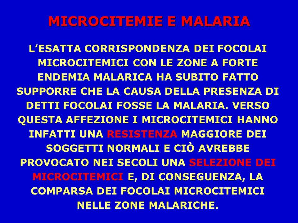 IN ITALIA VIVONO CIRCA 2.500.000 MICROCITEMICI SANI. I MALATI DI ANEMIA MEDITERRANEA ERANO IN PASSATO PIÙ DI 8.000. OGGI, GRAZIE ALLA PREVENZIONE, SON