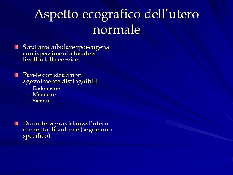 Aspetto ecografico dellutero normale Struttura tubulare ipoecogena con ispessimento focale a livello della cervice Parete con strati non agevolmente d