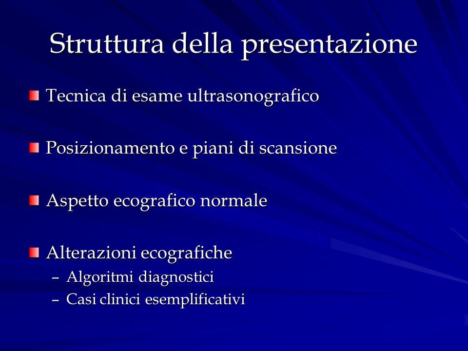 Struttura della presentazione Tecnica di esame ultrasonografico Posizionamento e piani di scansione Aspetto ecografico normale Alterazioni ecografiche