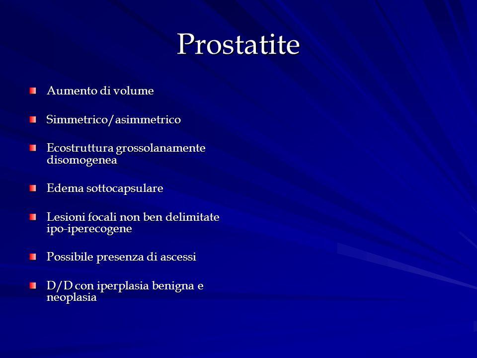 Prostatite Aumento di volume Simmetrico/asimmetrico Ecostruttura grossolanamente disomogenea Edema sottocapsulare Lesioni focali non ben delimitate ip